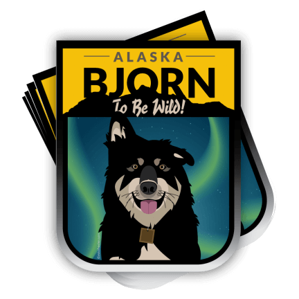 alaskan malamute sticker, bjorn to be wild