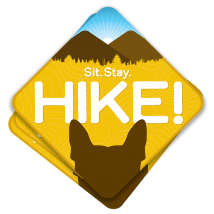 hiking with dog sticker
