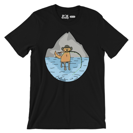 dog fly fishing t-shirt, social distancing