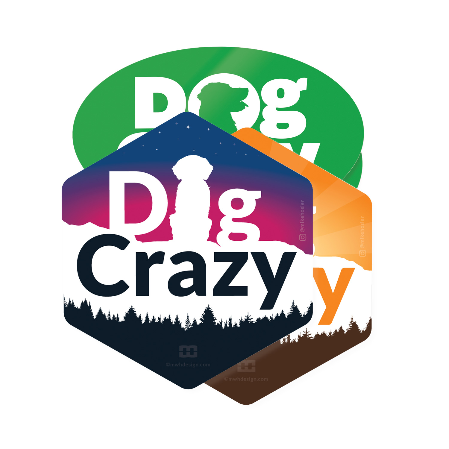 Dog Crazy Stickers by Mike Hosier