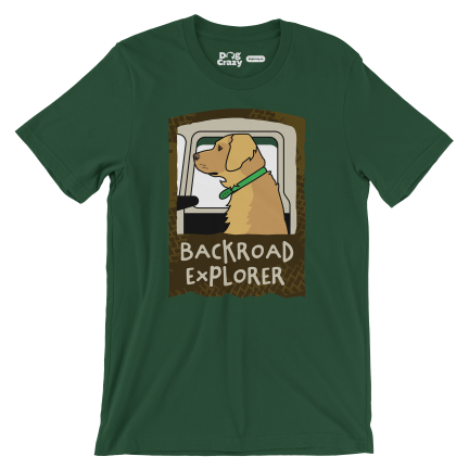 fj40 tshirt backroad explorer with golden retriever by mike hosier