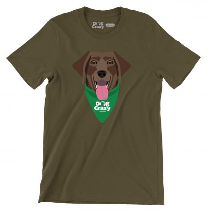 chocolate lab t-shirt in army green by dog crazy